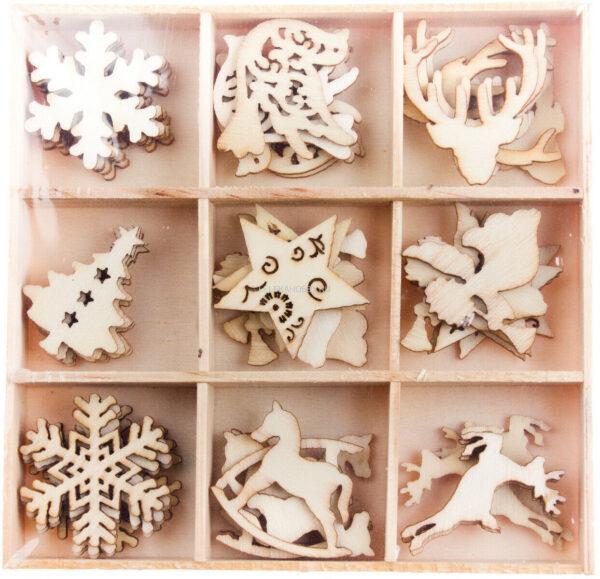 45 DECORAZIONI IN LEGNO ORNAMENTI PER SCRAPBOOKING fiocco neve albero di Natale 293641076696