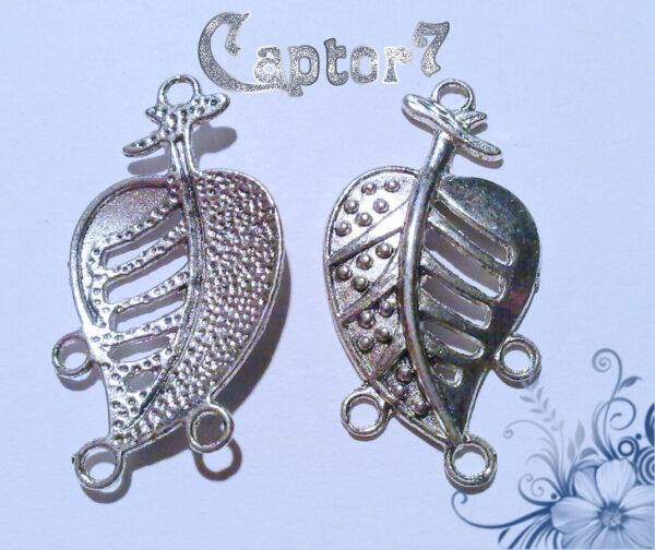 4x BASI PER ORECCHINI FOGLIA argento tibetano 3 ANELLI 291801164186