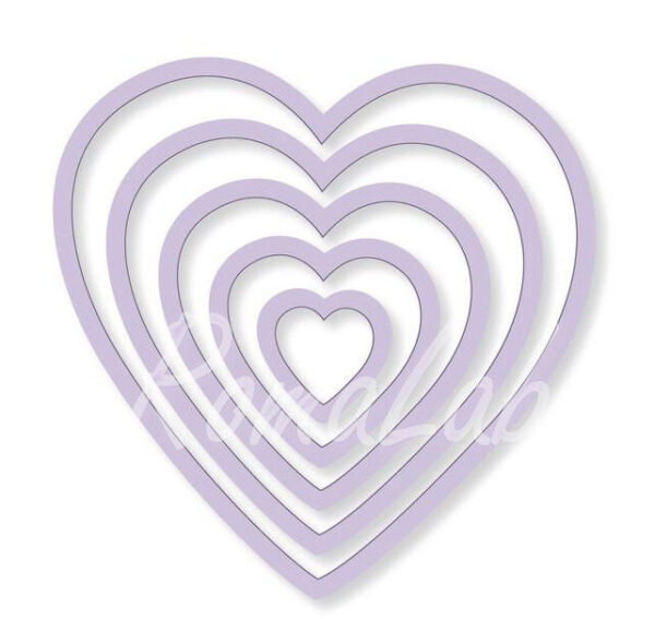 5 FUSTELLE a cuore SET compatibili con Big Shot cuori vari diametri Frame Heart 292177677916