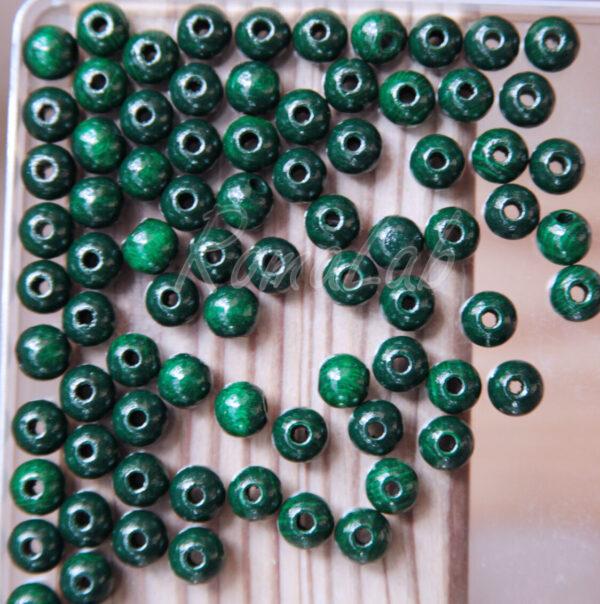 85 PERLE PERLINE DA 8 MM rotonde IN LEGNO verniciato verde scuro spacer 291337718486
