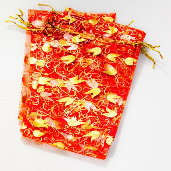 9 SACCHETTI DI ORGANZA GRANDI motivo floreale 175 x 12 cm REGALI NATALE 302903135466