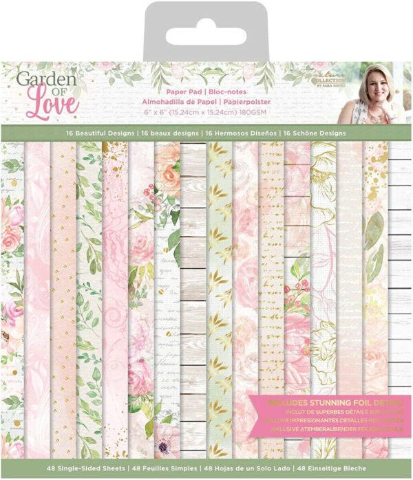 Blocco 48 fogli stampati 15X15 cm Garden of Love Paper Pack scrapbooking giar 293716946376