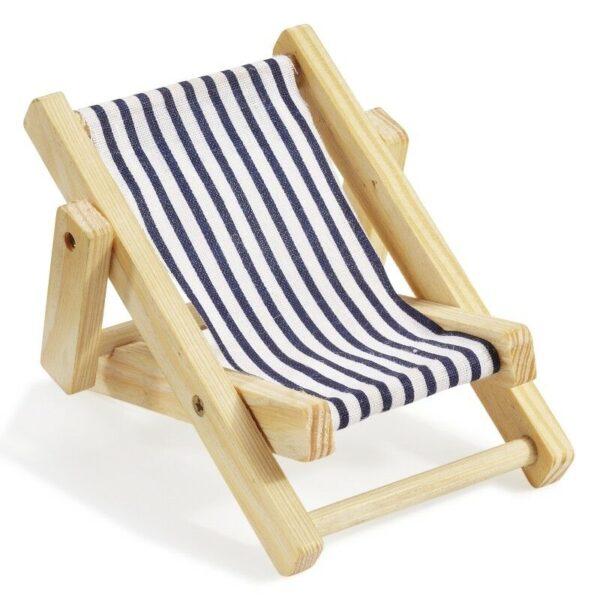 Mini sdraio legno stoffa righe bianche e blu miniatura 10 CM dolls casa sedia 302608912866