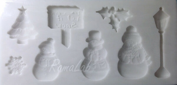 PICCOLO STAMPO IN SILICONE FLESSIBILE 8 FORMINE TEMA NEVE LET IT SNOW 292451275516