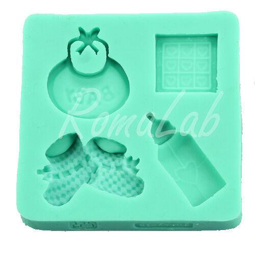 STAMPO IN SILICONE a tema baby biberon bavetta scarpe bambino mini FORMINE cake 301994690226