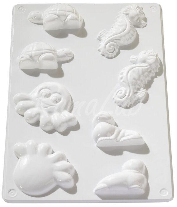 STAMPO con 4 FORMINE 3D a tema marino polipo cavalluccio marino tartaruga foca 291808305366