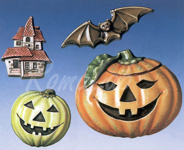 STAMPO con 4 FORMINE Halloween zucca Jack O Lantern casa infestata pipistrello 291808307426