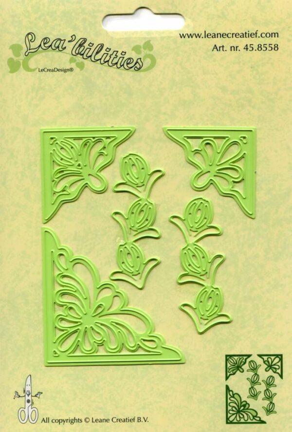 Set da 5 FUSTELLE angoli floreali e fiori die compatibili con Big Shot corner 303090669236