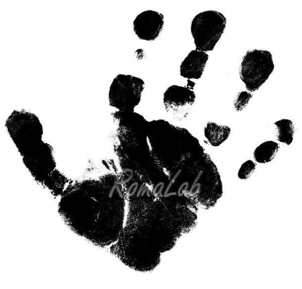 TIMBRO con BASE in LEGNO impronta della mano STAMP TIMBRI per SCRAPBOOKING 302002202946