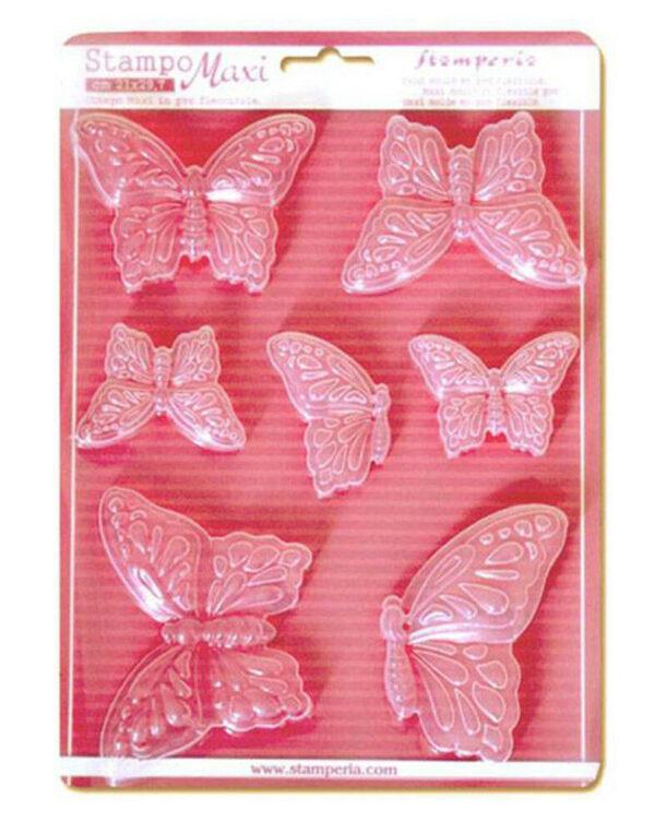 1 FOGLIO CON 7 STAMPI A TEMA FARFALLE Stamperia CLAY PRIMAVERA FORMINE 303042181737
