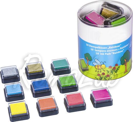 10 TAMPONI CUSCINETTI INCHIOSTRATI MIX COLORI arcobaleno SET SCRAPBOOKING Ink 302704235227