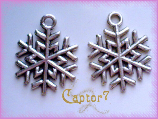 10 charm fiocchi di neve argento tibetano ciondolo pendente bigiotteria perline 292247499407
