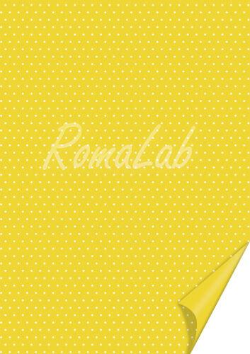 2 FOGLI in cartoncino color giallo A4 stampato a pois bianchi x SCRAPBOOKING 302012416397