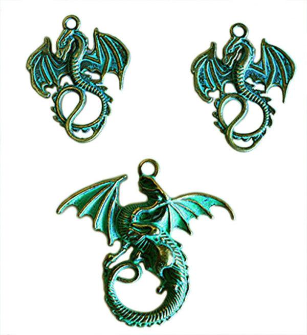 3 charms draghi ciondoli in metallo effetto anticato charm drago fantasy cion 293574822277