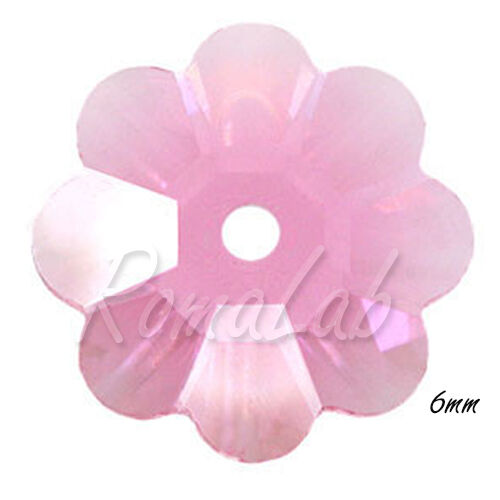 30 CRISTALLI ORIGINALI SWAROVSKI Sew on Stones FIORE 6 MM 3700 209 ROSE 291591766977