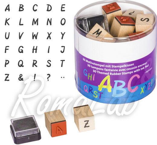 30 TIMBRI IN legno STAMP alfabeto e simboli segni punti SET x SCRAPBOOKING 302002181897