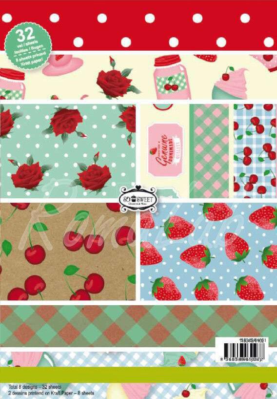 32 FOGLI STAMPATI A5 a tema cucina fragole rose pois x SCRAPBOOKING Paper stack 291789974797