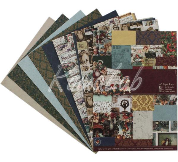 42 FOGLI STAMPATI A5 149 x 21 cm a tema Natale vittoriano SCRAPBOOKING Paper 302129506607