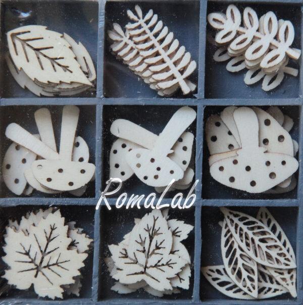 45 DECORAZIONI IN LEGNO 1 34CM ORNAMENTI SCRAPBOOKING foglie funghi applicaz 302079495577