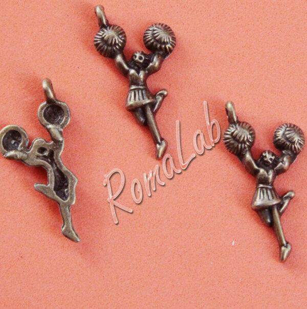 5 ciondoli ragazza pon pon charms cheerleader CIONDOLO COLOR BRONZO PENDENTE 303161197087