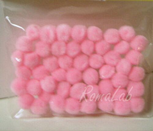 50 pom pom 10 12 mm pon pon rosa SCRAPBOOKING DECORAZIONI applicazioni pon pon 301994714387