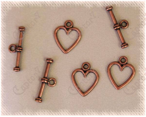 8 CHIUSURE A T CUORE IN METALLO COLOR RAME per collane bracciali 14x12 mm T BAR 301994707757