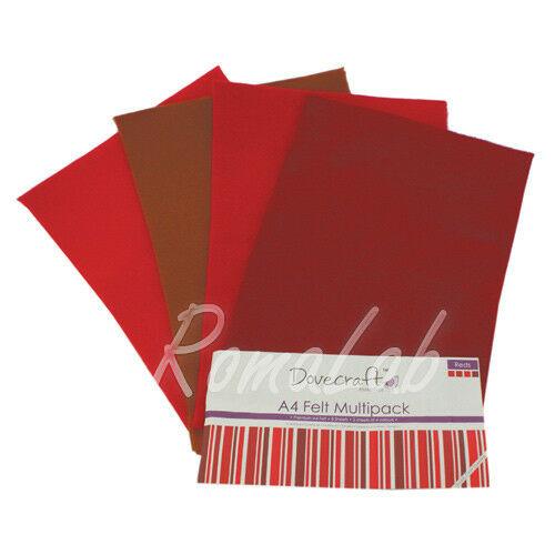 Confezione 8 fogli di feltro A4 in mix Dovecraft multipack toni del rosso 302874994377
