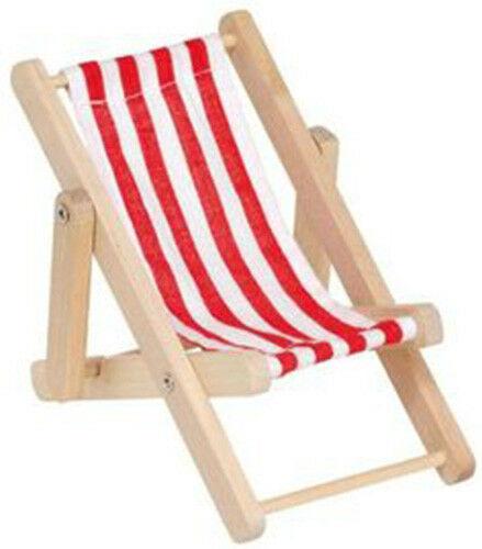 Mini sdraio legno stoffa righe bianche e rosse miniatura 5 x 35 CM dolls cas 302513476347