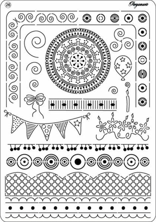 Multi grid Pergamano n 26 a tema PARTY FESTA BORDI SCRAPBOOKING per pizzi in 292949348427