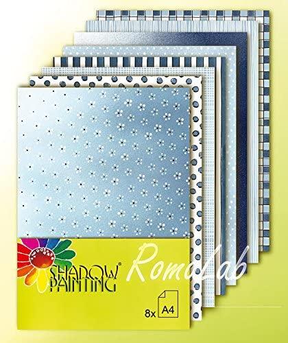 8 FOGLI di carta stampata A4 per SCRAPBOOKING SCRAP colori blu e azzurro mare B079MH5G1H