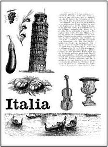 10 TIMBRI ACRILICI TRASPARENTI STAMP a tema Italia SCRAPBOOKING 18X14 CM 291801112548