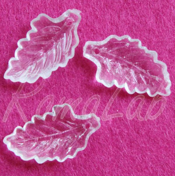 11 CHARMS foglie in acrilico trasparente CIONDOLI PENDENTI charm plastica natura 302820034988