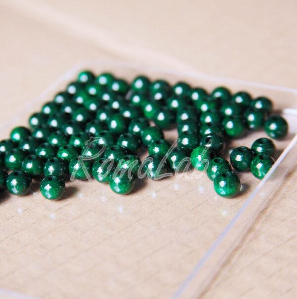 125 PERLE PERLINE DA 6 MM rotonde IN LEGNO verniciato verde scuro spacer 291597605398