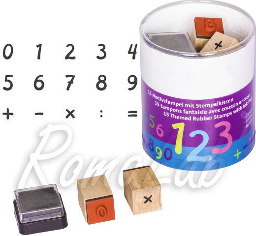 15 TIMBRI IN legno STAMP numeri e simboli segni addizioni SET x SCRAPBOOKING 302002181928