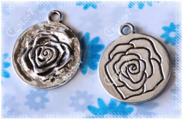 3 CHARMS medaglia con rosa DOUBLE FACE PENDENTE CIONDOLO 302493390278