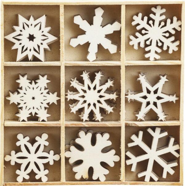 45 DECORAZIONI IN LEGNO ORNAMENTI PER SCRAPBOOKING fiocco neve inverno Natale 291808431528