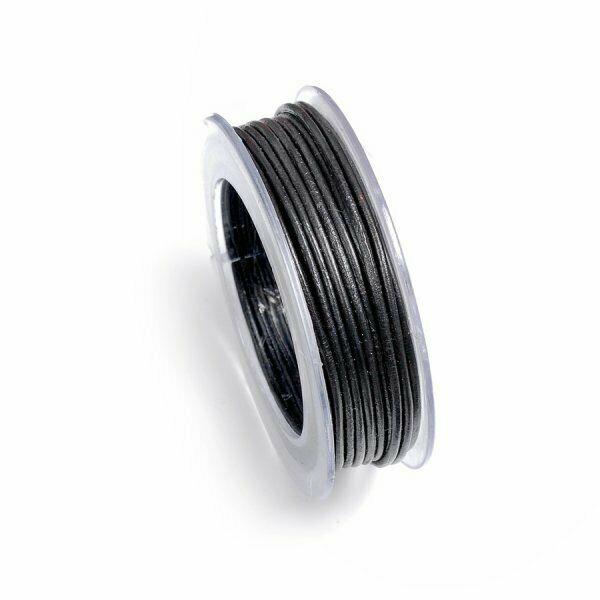 5 MT FILO pelle nera 1 mm diametro cuoio laccio nero Leather Laces black lacc 303081807078