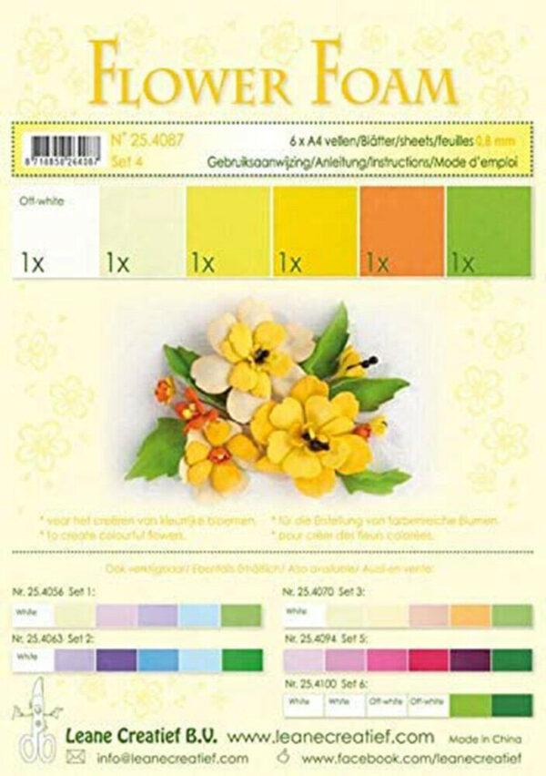 6 FOGLI di foamiran A4 gradazioni del giallo spessore 08 mm MOOSGUMMI x fiori 293818016348