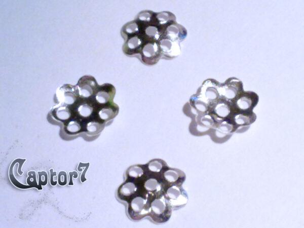 65 COPPETTE COPRI PERLE ARGENTATE perline FIORE PERLA COLOR ARGENTO CHIARO 6 MM 301421074738
