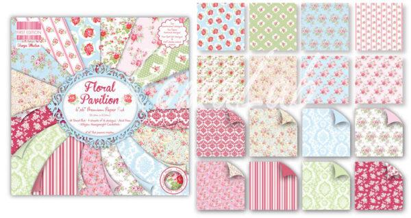 Blocco di 64 fogli stampati 15X15 cm FEPAD065 Floral Pavilion motivo floreale 291947514458