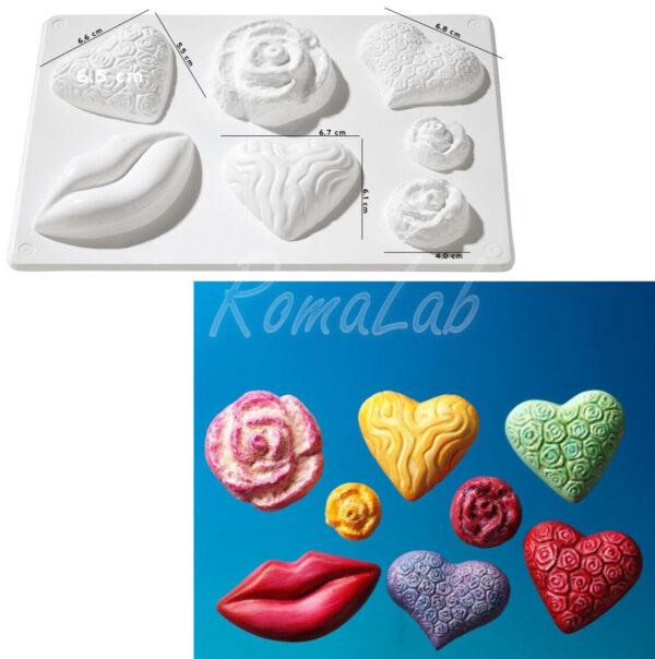 STAMPO con 7 FORMINE a forma di cuori rose labbra x colate gesso ceramico smack 291808305138