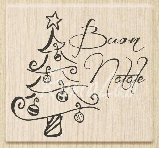 TIMBRO con BASE in LEGNO STAMP scritta BUON NATALE TIMBRI per SCRAPBOOKING Stamp 293790779858