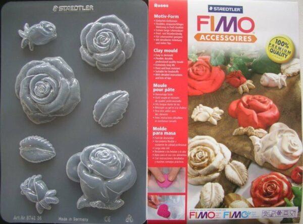 1 FOGLIO CON 7 STAMPI A TEMA rose PER FIMO CLAY AMORE fiori FORMINE foglie cake 291801121909