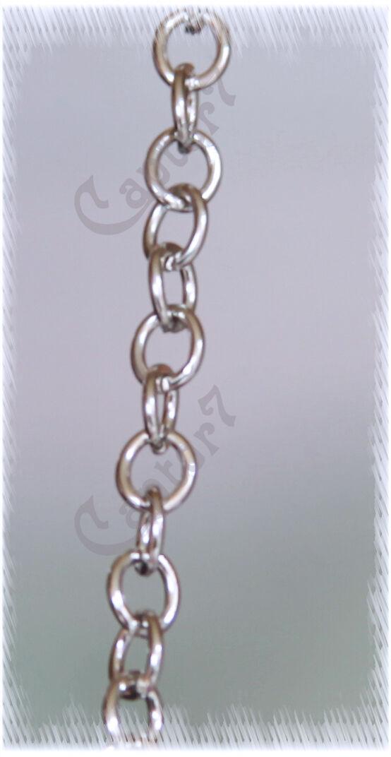 1 METRO DI CATENA color argento catenina maglie rolo tonde 5 MM COLOR PLATINO 302002255609