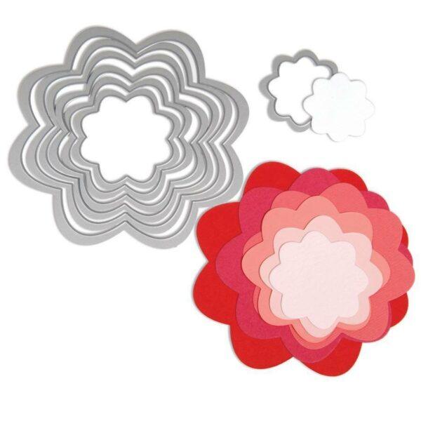 1 SET DI FUSTELLE PER BIG SHOT SIZZIX PER fiori DIVERSI DIAMETRI FRAMELITS fiore 302891401119