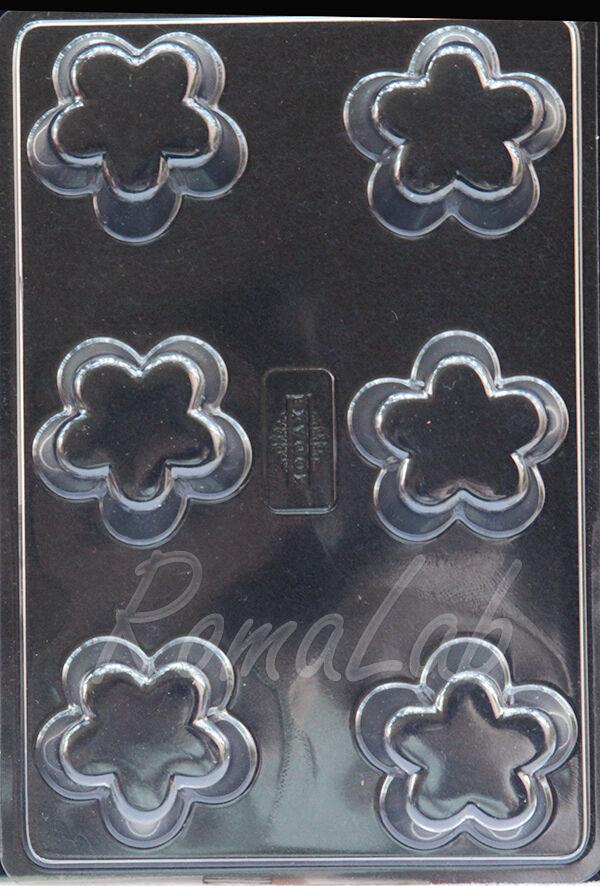 1 STAMPO con 6 formine a forma di fiore per CANDELA per COLATE di CERA rosetta 291808418089