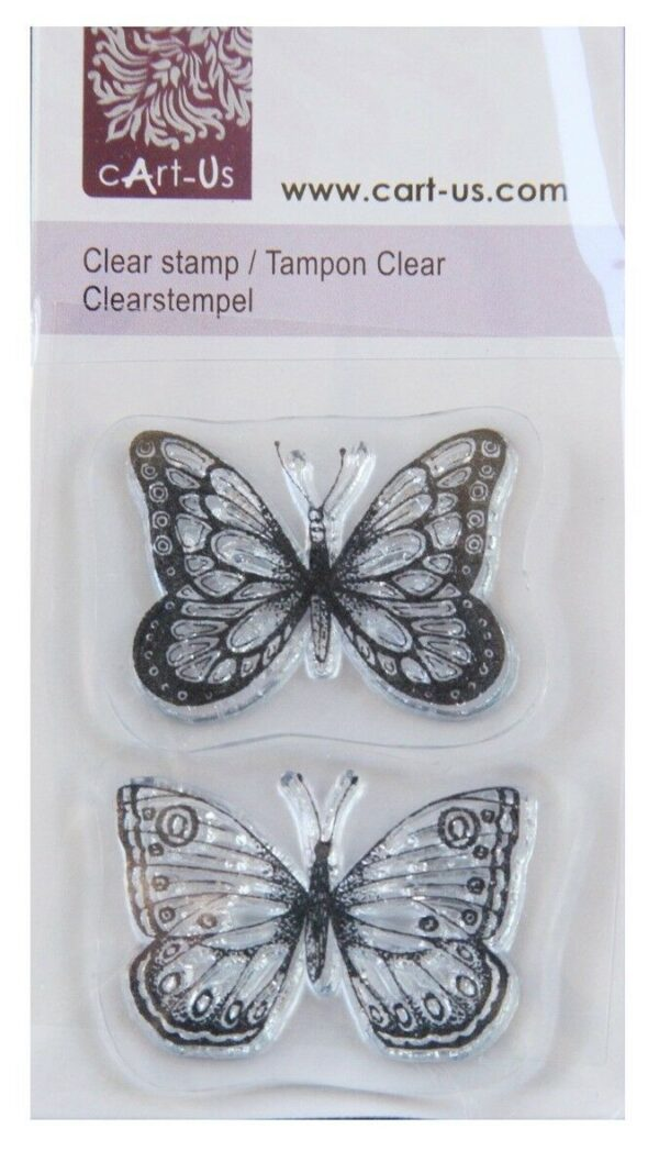 2 TIMBRI ACRILICI TRASPARENTI FARFALLE SET SCRAPBOOKING BUTTERFLY CLEAR STAMPS 302874750459