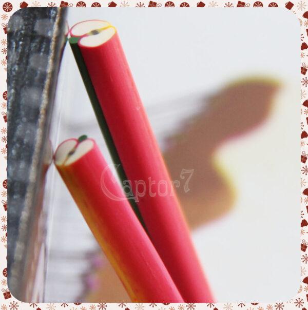 3 BARRETTE CANES NAIL ART UNGHIE BASTONCINI MELA FRUTTA IN FIMO PER FETTINE 5 CM 291808349749