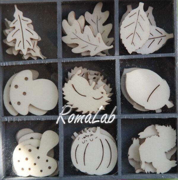 45 DECORAZIONI IN LEGNO 17 3CM ORNAMENTI SCRAPBOOKING foglie funghi zucca ri 291808351879