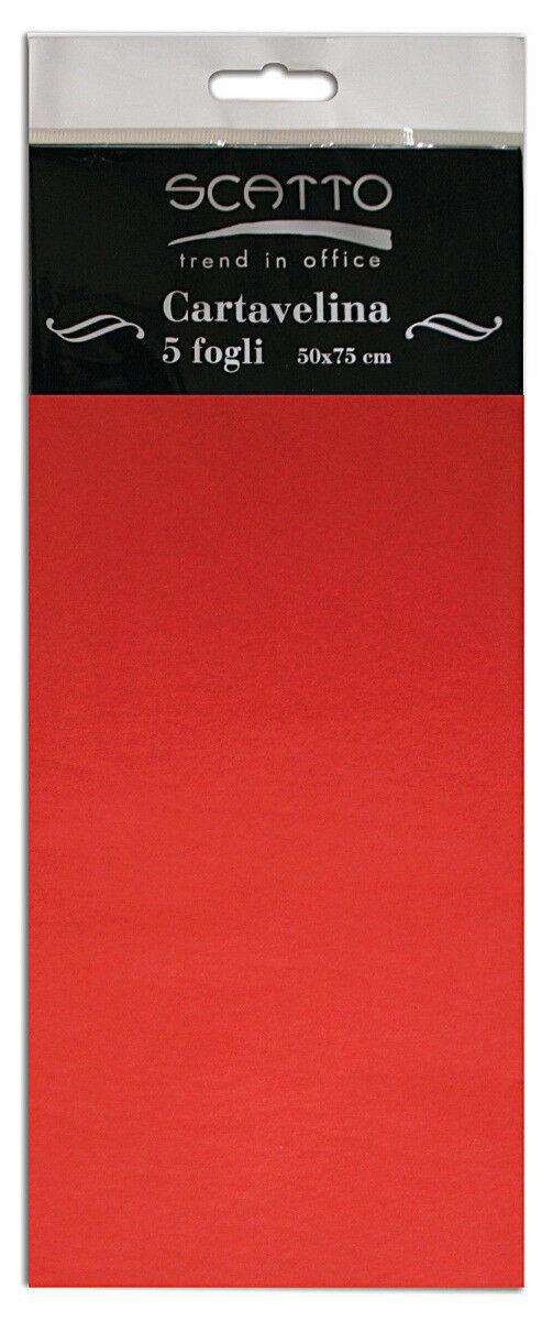 5 FOGLI di CARTA VELINA 50X75 CM 17 GR colore rosso SCATTO leggera e colorata 292211152399